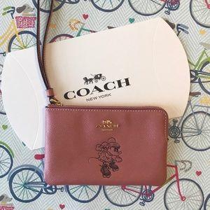 Disney x Coach Pink Minnie Wristlet